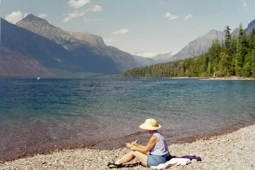 Kathy journaling at Lake MacDonald